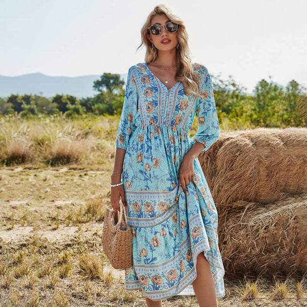 Half Sleeve Boho Floral Midi Dress