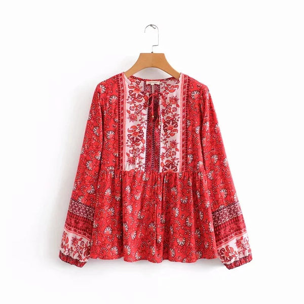 Women Tunic Shirts V-neck Boho Blouse - Shes Lady
