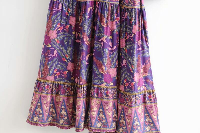 Vintage Floral Print Flare Sleeve Long Dresses - Shes Lady