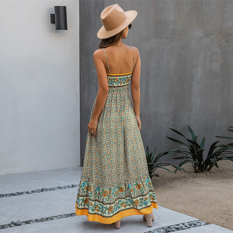 Backless Floral Print Spaghetti Strap Maxi Dress - Shes Lady