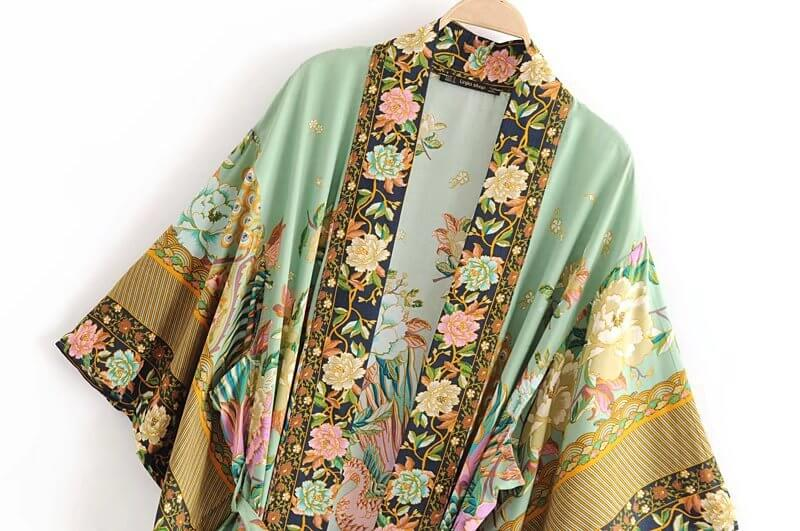 Kimono Sleeve Boho Style Floral Cardigan Dress with Belt - Shes Lady