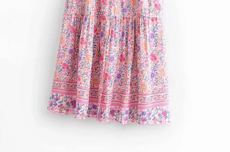 Drawstring Elastic High Waist Leg Slit Floral Skirt Pink - Shes Lady