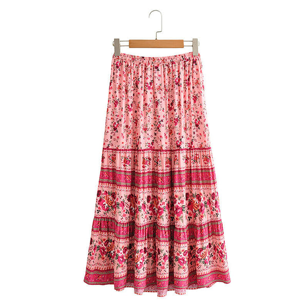 Drawstring Waist Floral Skirt - Red