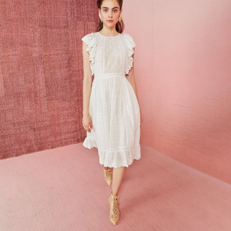 Ruffle Cap Sleeve Embroidered Midi White Dress