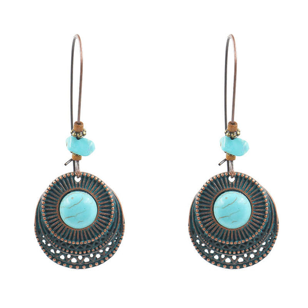 Retro Turquoise Alloy Drop Earring