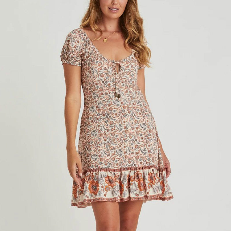 Scoop Neck Flroal Print Short Dress - Shes Lady