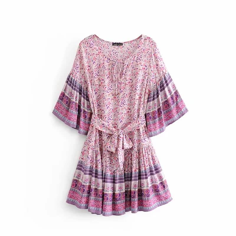 Floral Print Bohemian Tunic Mini Dress - Shes Lady