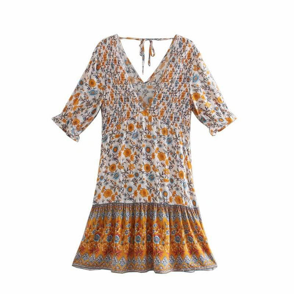 Floral V-Neck Shirred Ruffled Sleeve Boho Dresses - Beige