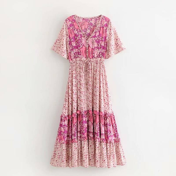 Glamour Pink Berry Print Floral Midi Dress - Shes Lady