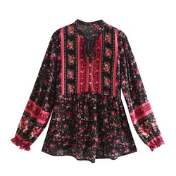 Tie Up Floral Long Sleeve Blouse - Black Red