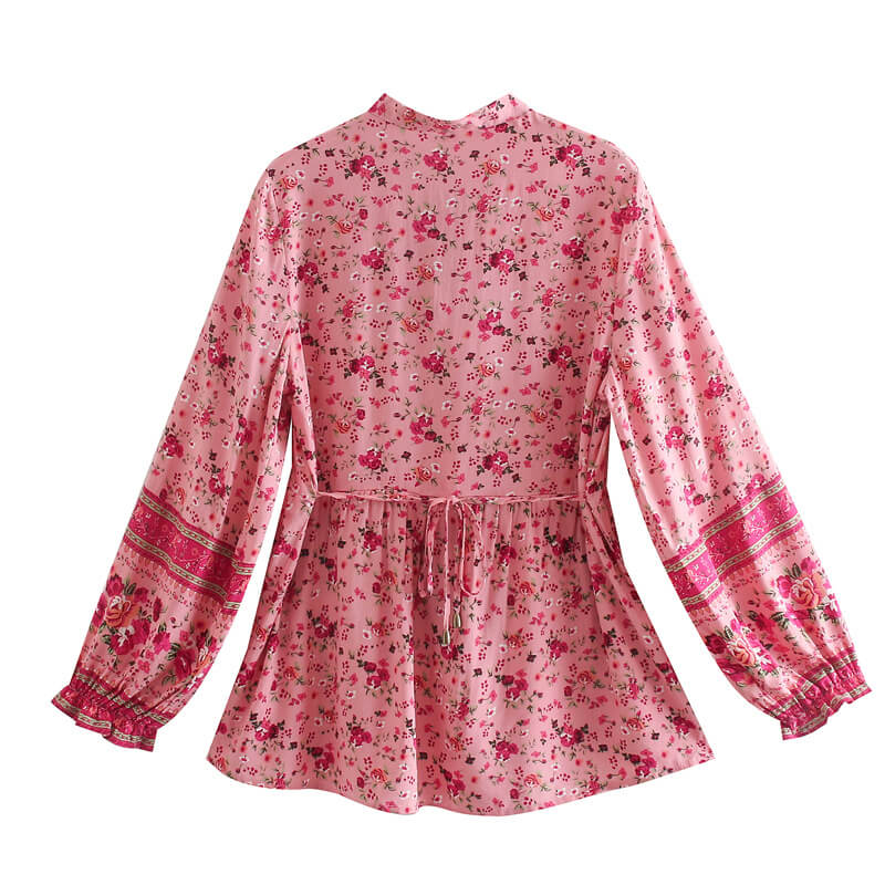 Tie Up Floral Long Sleeve Blouse- Red
