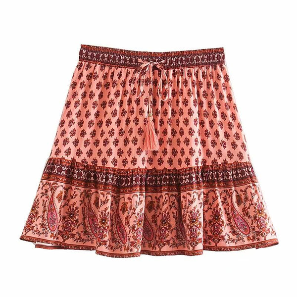 Hippie Tassel Drawstring Waist Floral Short Skirt - Shes Lady
