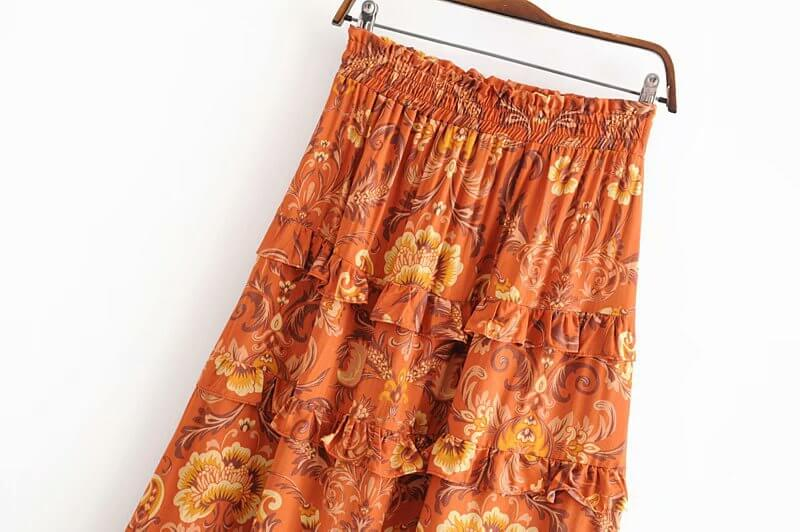 Victorian Paisley Print Frill Chic Bohemian Beach Skirt - Shes Lady