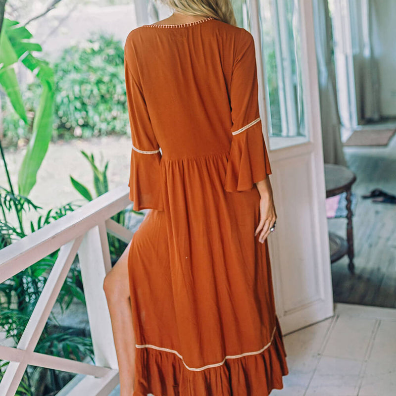 Boho Chic 3/4 Sleeve Embroidery Vacation Long Dresses - Shes Lady
