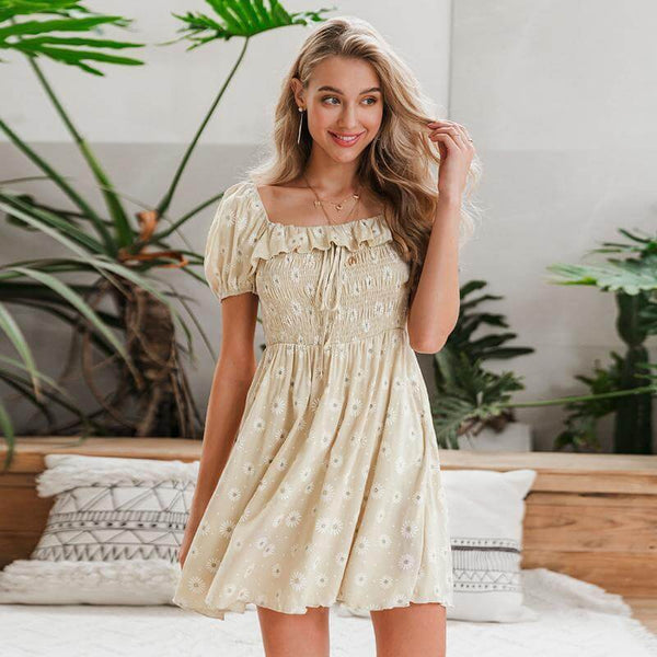 Puff Sleeve Ruffle Square Neck Embroidered Daisy Dress