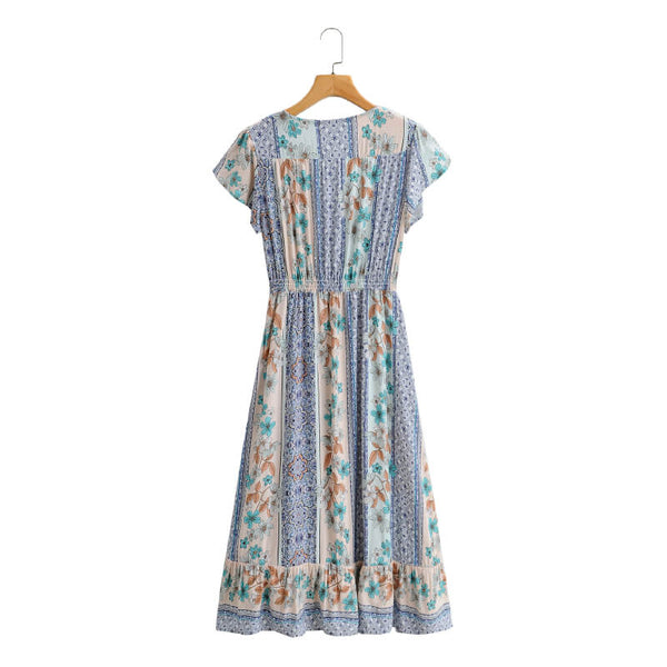 Elegant Floral V Neck Midi Dress - Blue