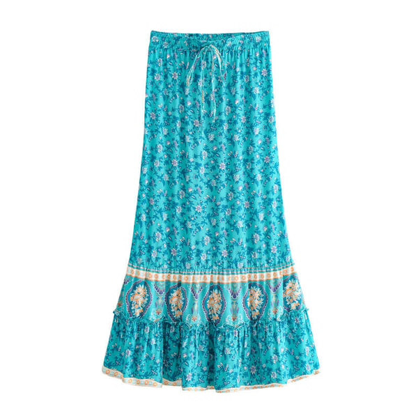 Allover Floral Tie Waist Long Skirt
