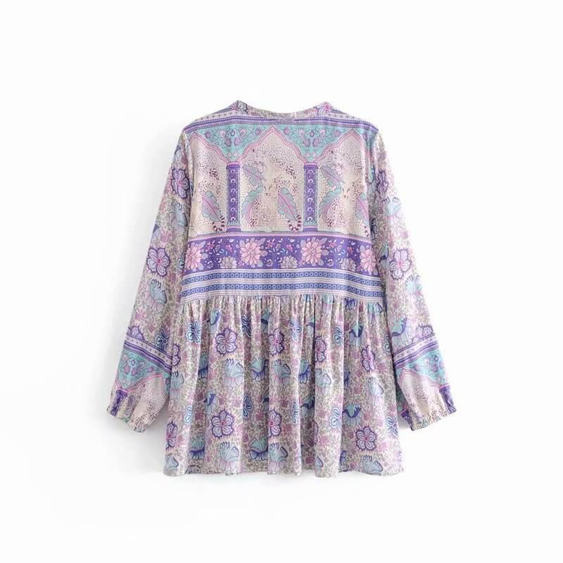 Gypsy Bohemian Purple Poinciana Top - Shes Lady
