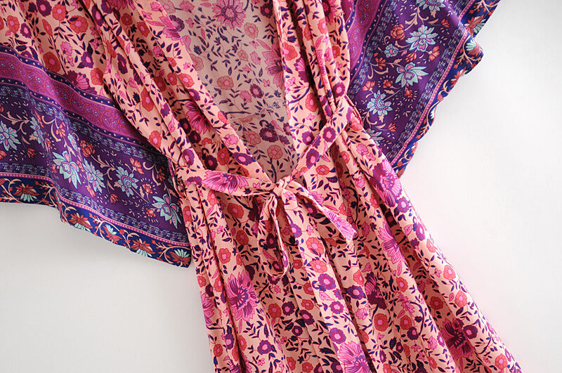 Vintage Kimono Sleeve Floral Cover Up Cardigan Long Blouse - Shes Lady