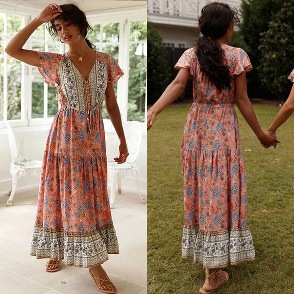 Button V Neck Drawstring Waist Boho Floral Dress