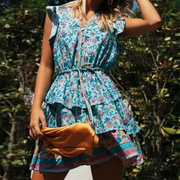 Hippie Floral Printed Flying Sleeve Short Dress