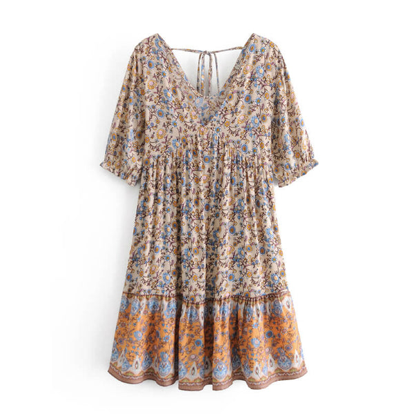 Elegant Floral V-Neck Boho Short Dress - Apricot