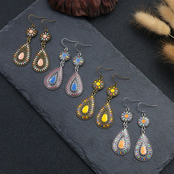 Ethnic Glazed Flower Water Drop Women Earrings