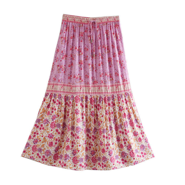 Drawstring Waist Floral Long Skirt