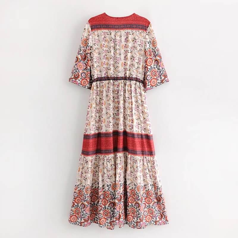 Boho Summer Button Up Floral Print Split Beach Long Dresses - Shes Lady