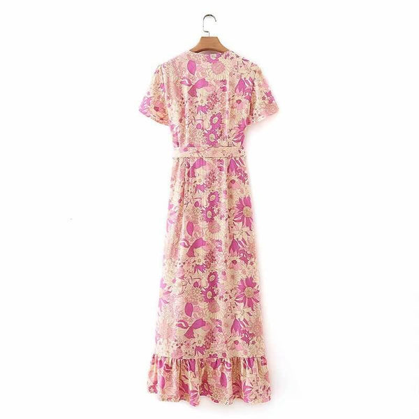 Ruffles Floral Wrap Dress with Belt