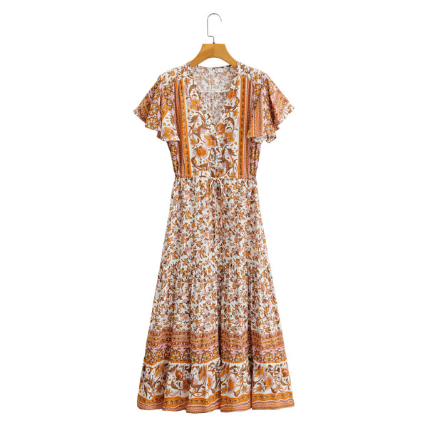 Short Sleeve A-Line Button V Neck Floral Dress