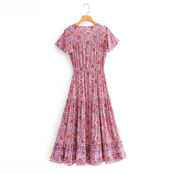 Button Front V Neck High Waist Boho Floral Dress - Shes Lady
