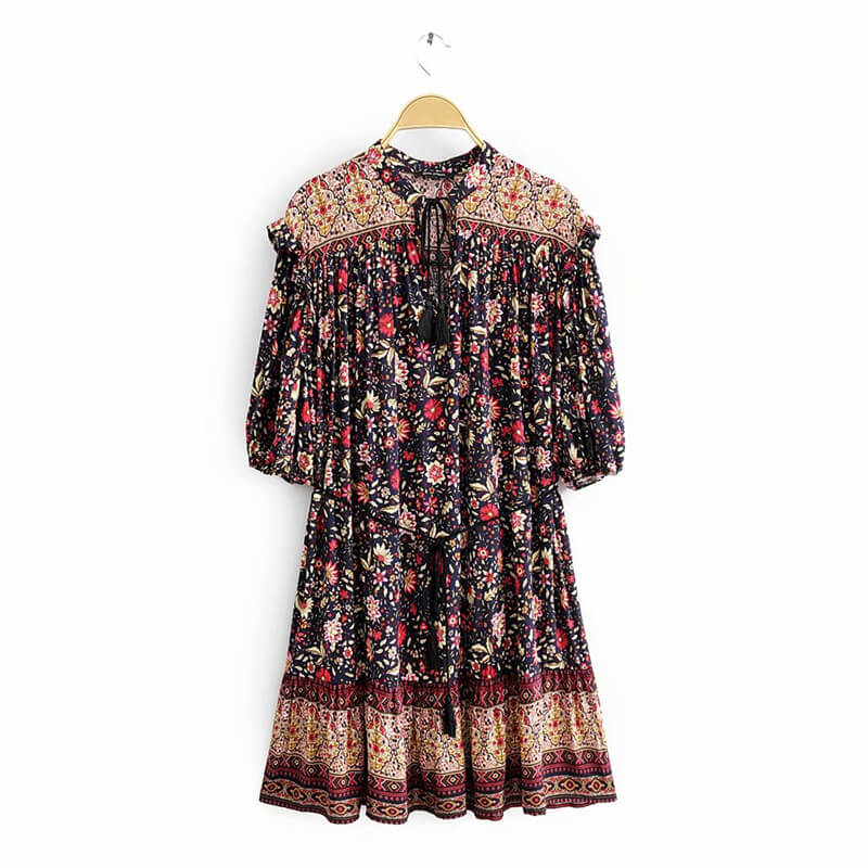 Vintage Chic Half Sleeve Tassel Drawstring Floral Short Dress - Shes Lady