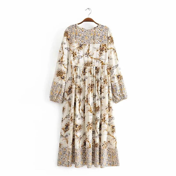 Long Sleeve Floral Print Midi Vacation Dresses