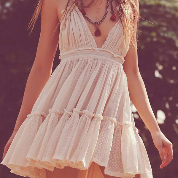 Backless Summer Beach Boho Dress