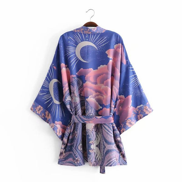 Kimono Sleeve Belt Tie Boho Beach Cover Up