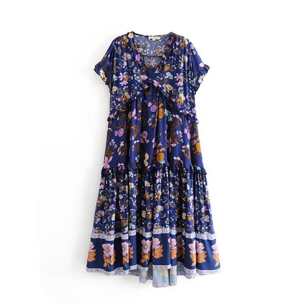 Boho Chic Bloom Floral Ruffles Midi Dress - Shes Lady