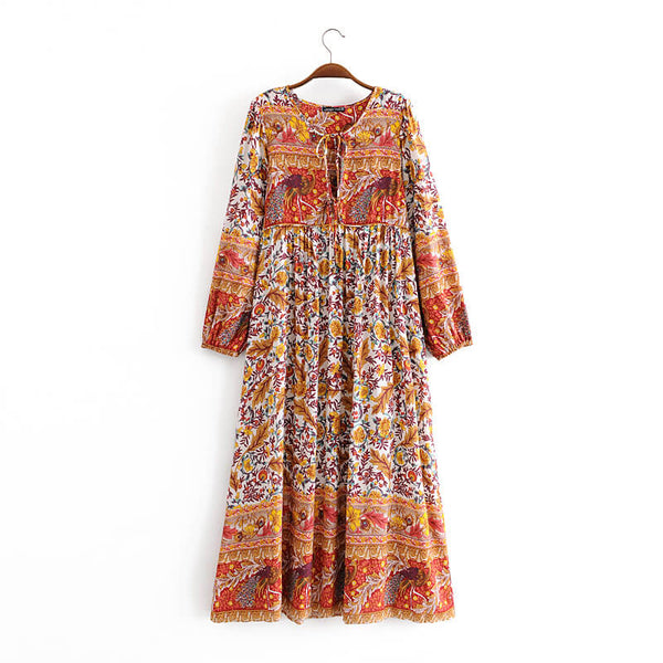 Fall Long Sleeve Floral Midi Dress - Shes Lady