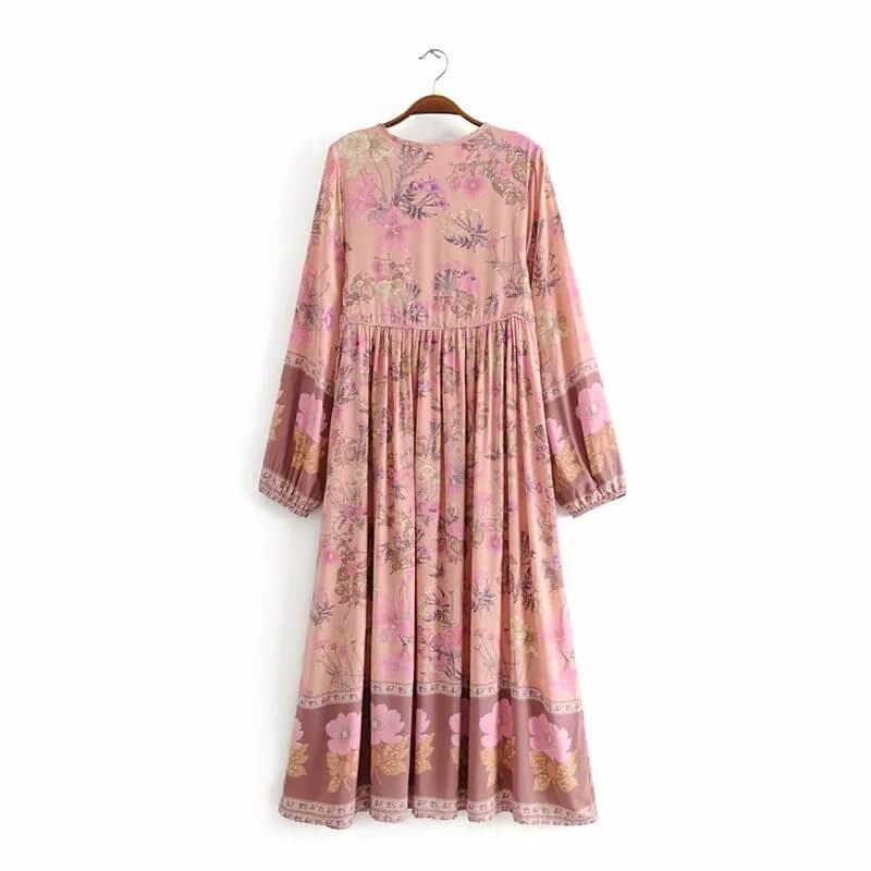 Gypsy Boho Floral Print Long Sleeve Midi Dresses - Shes Lady