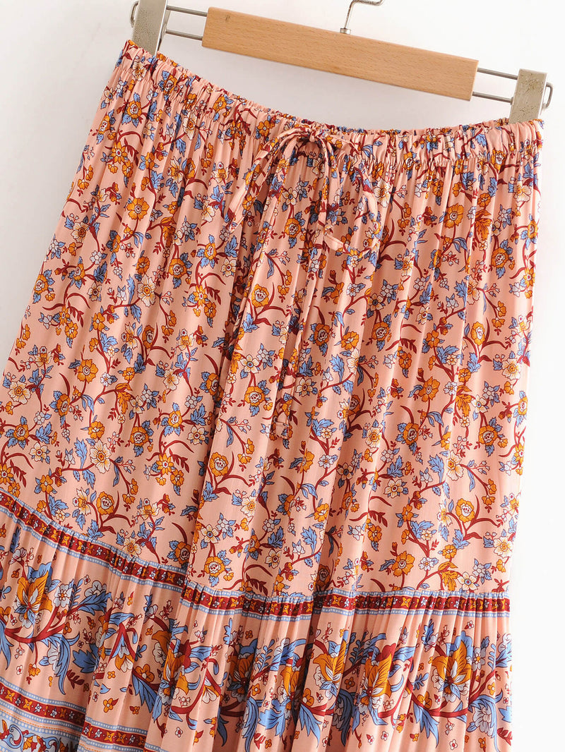 Elegant Holiday Floral Skirt - Shes Lady