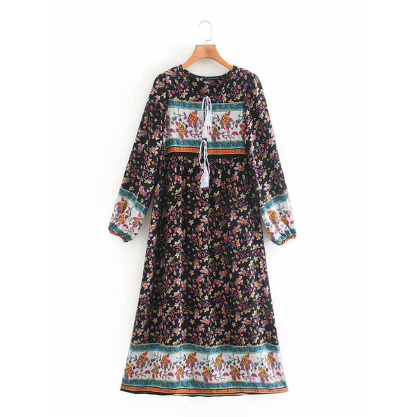 Tassel Lace-up Long Sleeve Floral Dress - Shes Lady