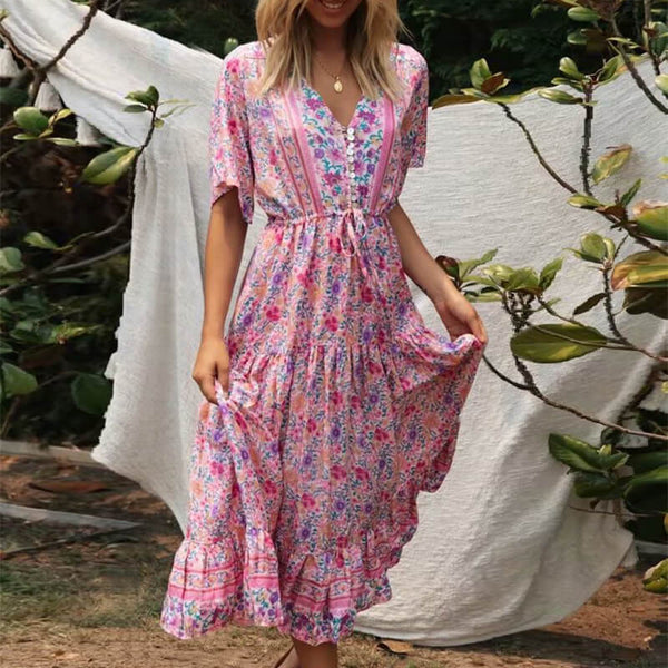 Boho Chic Button V Neck Floral Printed Long Dress Pink - Shes Lady