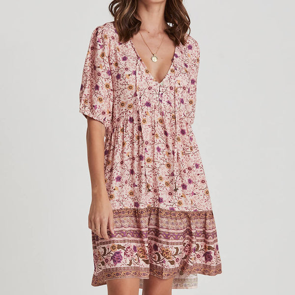 Fixed Cuff Sleeve Floral Mini Dress - Shes Lady