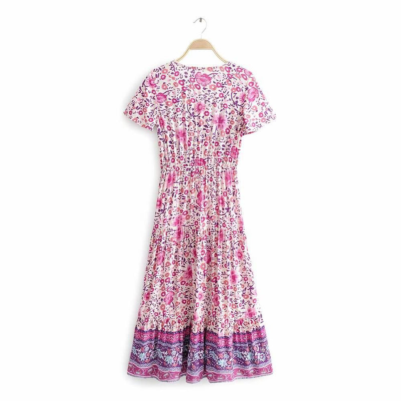 Vintage Floral Printed Short Sleeve V Neck Long Dress - Shes Lady