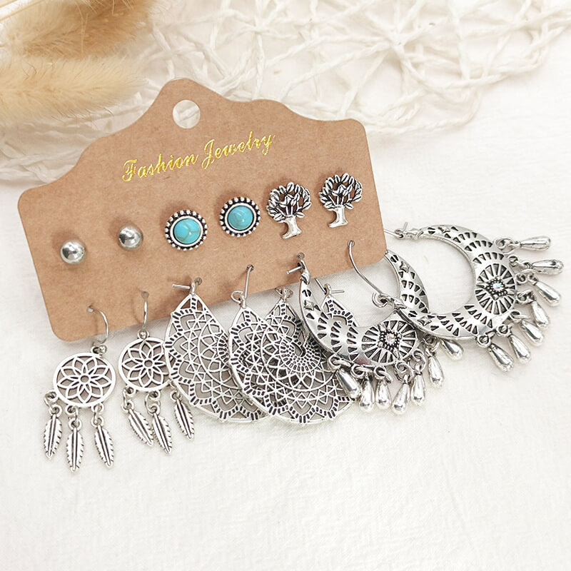 Ethnic Beads Retro Drop Earrings 6 pair/set