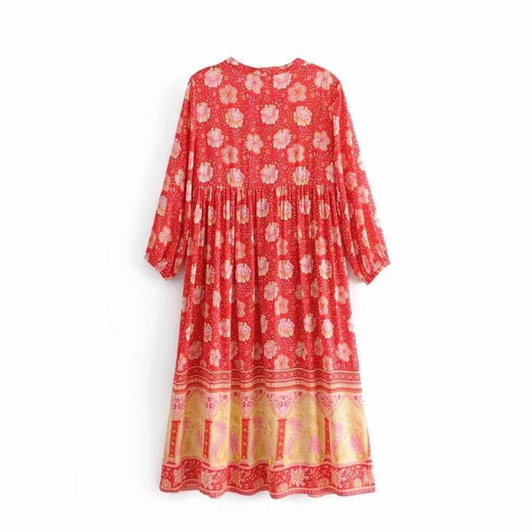 Red Summer Boho Floral Print Midi Dresses - Shes Lady