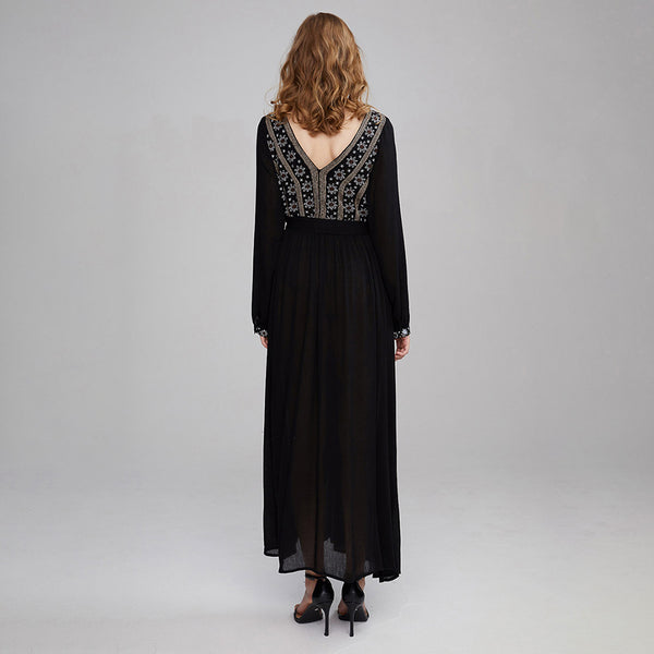 Bohemian Retro Embroidery Long Sleeve Belted Dresses Black - Shes Lady