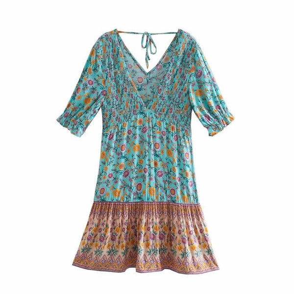 Floral V-Neck Shirred Ruffled Sleeve Boho Dresses - Green