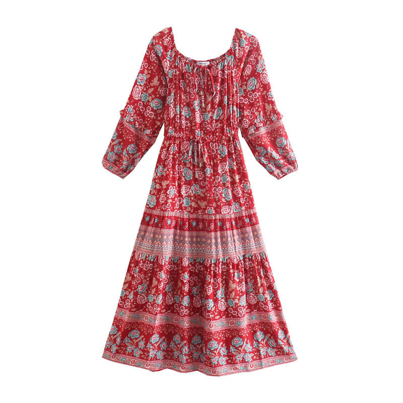 Tie Square Neck Long Sleeve Floral Dress