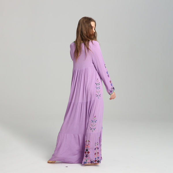 Boho Long Sleeve Embroidery Tassel Floral Maxi Dress - Shes Lady